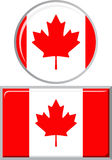 Kanadisch um und quadratische Ikonenflagge Vektor Lizenzfreie Stockfotos