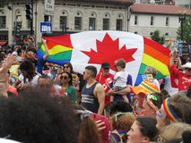 Kanadische Flagge bei Haupt-Pride Parade im Washington DC Stockfotografie