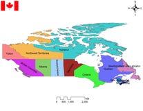 Kanadische Karte von Provinzen und von Gebietkanada-Karte stockbild