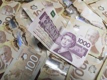 Kanadische Rechnungen der Währung $1000 Stockfotografie