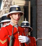 Kanadische Soldaten in den historischen Uniformen für Erinnerungs-Tag Lizenzfreie Stockfotografie