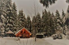 Kanadische Winter-Blockhaus-Szene Stockbilder