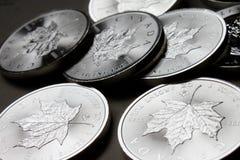 Kanadischer Ahornblatt-Silbermünzestapel Stockbilder