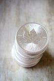 Kanadischer Ahornblatt-Silbermünzestapel Stockbild