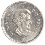 5-kanadischer Cent-Münze lokalisiert auf weißem Hintergrund Stockbild