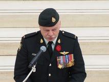 Kanadischer Soldat an der Erinnerung-Tageszeremonie Stockfotos