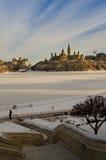 Kanadisches Parlament im Winter Lizenzfreie Stockbilder