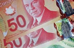 Kanadyjczyk 50 dolarowych rachunków fotografia royalty free