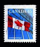 Kanadyjczyk flaga i budynki biurowi, Definitives 1989-2005 seria, obraz stock