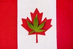 Kanadyjczyk flaga z marihuana liściem zdjęcia stock