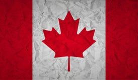 Kanadyjczyk flaga z skutkiem zmięty papier i grunge ilustracja wektor