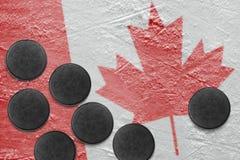 Kanadyjczyk płuczki na lodzie i flaga obrazy royalty free