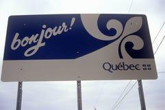 Kanadyjczyk podpisuje wewnątrz Richford, VT Fotografia Royalty Free