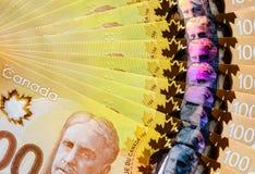 Kanadyjczyk sto dolarów tło obraz royalty free