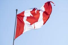 Kanadyjczyka Chorągwiany Backlit Zdjęcie Royalty Free