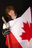 kanadyjczyka chorągwiany hokeja lodu gracz Zdjęcie Royalty Free