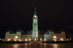 Kanadyjscy parlamentów budynki nocą Zdjęcia Stock