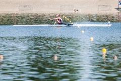 Kanadyjska atleta na Światowym Wioślarskim filiżanki rywalizaci wioślarstwie obraz stock