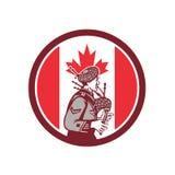Kanadyjska Bagpiper Kanada flaga ikona royalty ilustracja