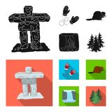 Kanadyjska jodła, bóbr i inni symbole Kanada, Kanada ustalone inkasowe ikony w czarnym, mieszkanie symbolu stylowy wektorowy zapa ilustracji