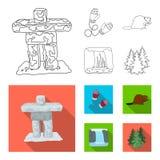 Kanadyjska jodła, bóbr i inni symbole Kanada, Kanada ustalone inkasowe ikony w konturze, mieszkanie symbolu stylowy wektorowy zap Zdjęcie Stock
