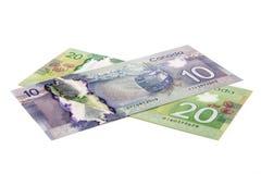 Kanadyjski papierowy pieniądze zdjęcie stock
