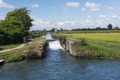 Kanal av Bereguardo (IMilan) Arkivfoton