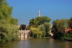 Kanal av Bruges, Belgien royaltyfri bild