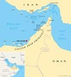 Kanal av Hormuz, Abu Musa och Tunbs den politiska översikten royaltyfri illustrationer