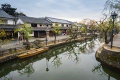 Kanal av Kurashiki den forntida staden av Okayama arkivfoto