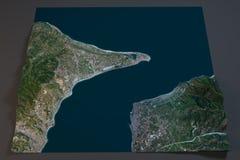 Kanal av Messina, satellit- sikt, Sicilien och Calabria, Italien Royaltyfri Bild