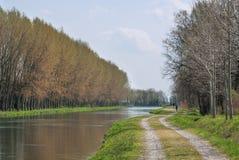 Kanal av vatten för jordbruks- bevattning Royaltyfri Fotografi