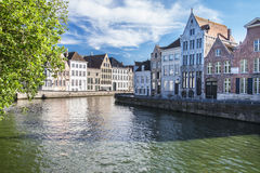 Kanal in Brügge Stockfotos