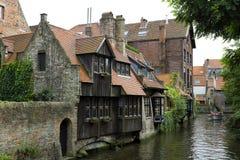 Kanal in Brügge Belgien Lizenzfreies Stockfoto