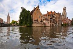 Kanal in Brügge, Belgien Lizenzfreies Stockbild