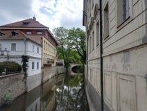 Kanal Certovka i Prague, Tjeckien royaltyfria foton