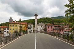 Kanal, charming town on the Soca River. Slovenia Royalty Free Stock Photography