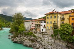 Kanal, charming town on the Soca River. Slovenia Stock Photography