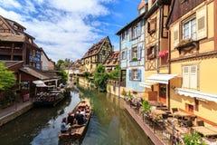 Kanal in Colmar, Elsass Lizenzfreie Stockfotografie
