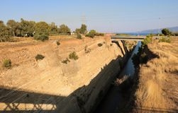 kanal corinth greece royaltyfria bilder