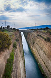 kanal corinth greece royaltyfri bild
