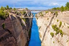 kanal corinth greece Royaltyfri Bild