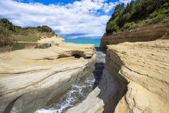 Kanal D ` Liebe bei Sidari, Korfu, Griechenland stockbild