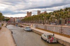 Kanal de la robinie, Narbonne royaltyfria foton