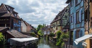 Kanal du Logelbach i Colmar Fotografering för Bildbyråer