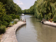 Kanal du Midi Frankrike Royaltyfri Foto