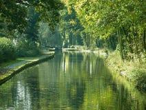 Kanal durch Bäume stockbild