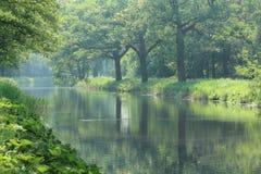 Kanal flod i sommartid royaltyfria bilder