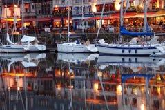 Kanal in Honfleur stockfoto