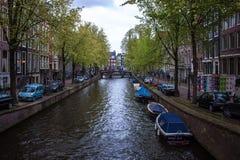 Kanal i Amsterdam Royaltyfria Foton